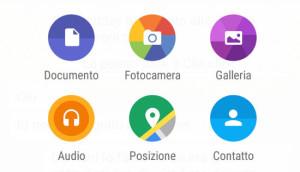 Schermata invio documenti con WhatsApp